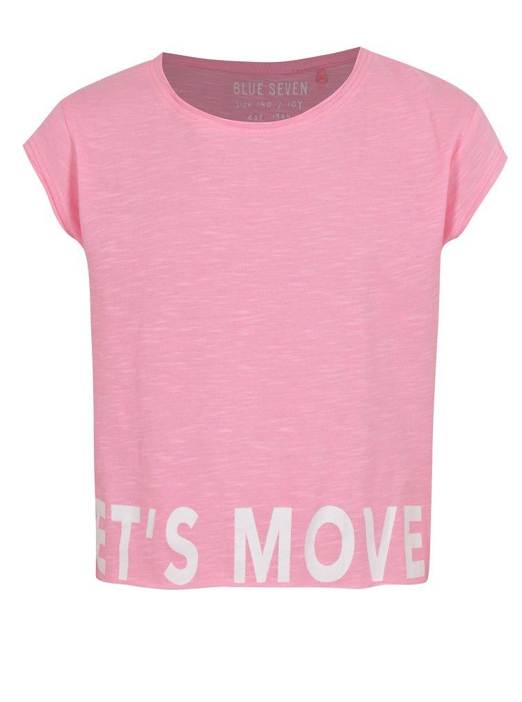 Růžové holčičí krátké tričko s nápisem Blue Seven