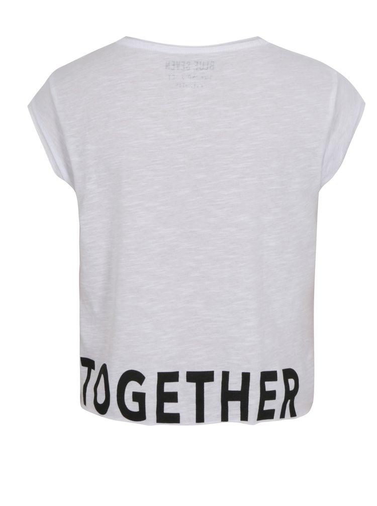 Bílé holčičí krátké tričko s nápisem Blue Seven