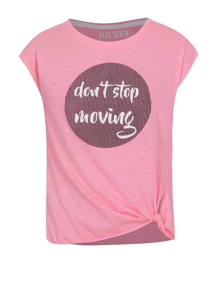 Neonově růžové holčičí tričko s potiskem a uzlem Blue Seven
