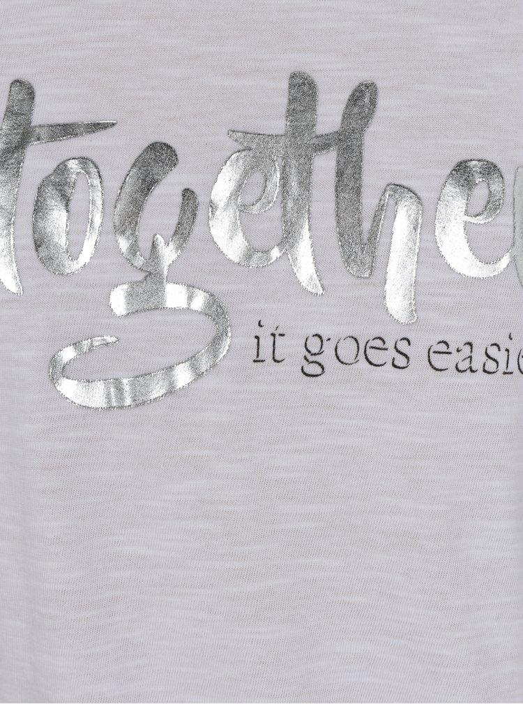 Bílé holčičí tričko s potiskem ve stříbrné barvě a uzlem Blue Seven