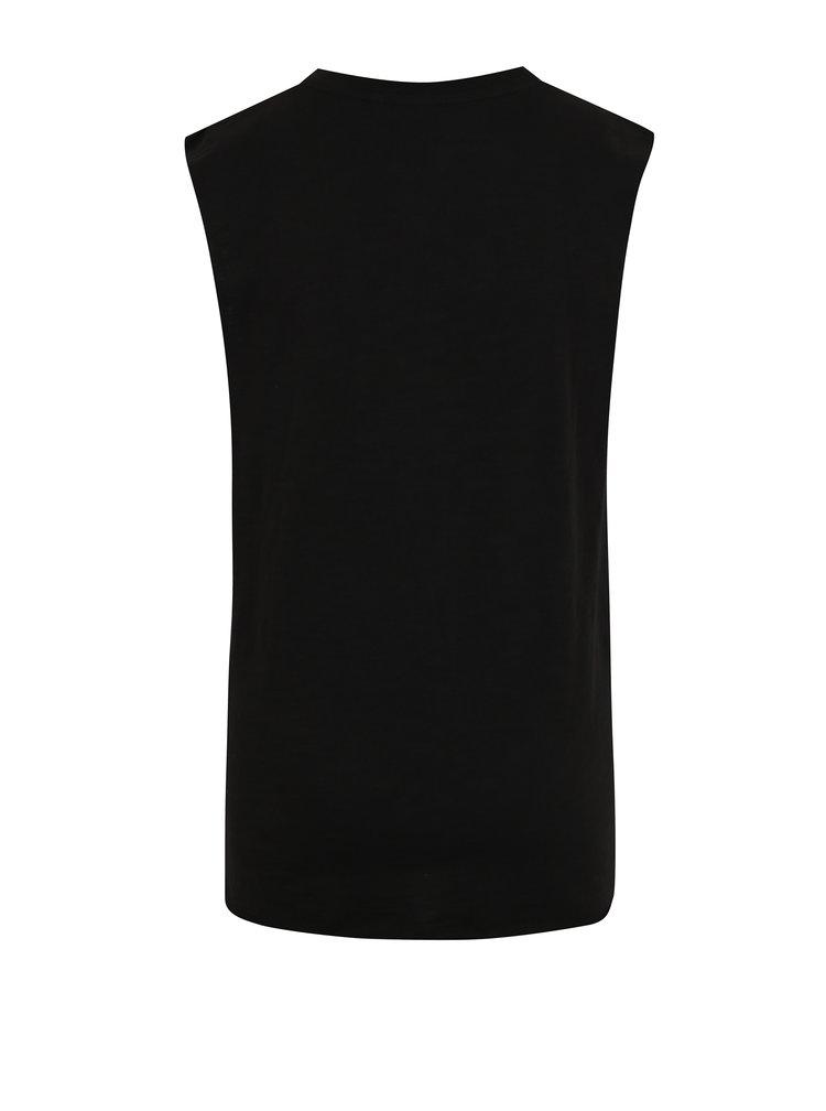 Černé klučičí tričko s nápisem bez rukávu Blue Seven