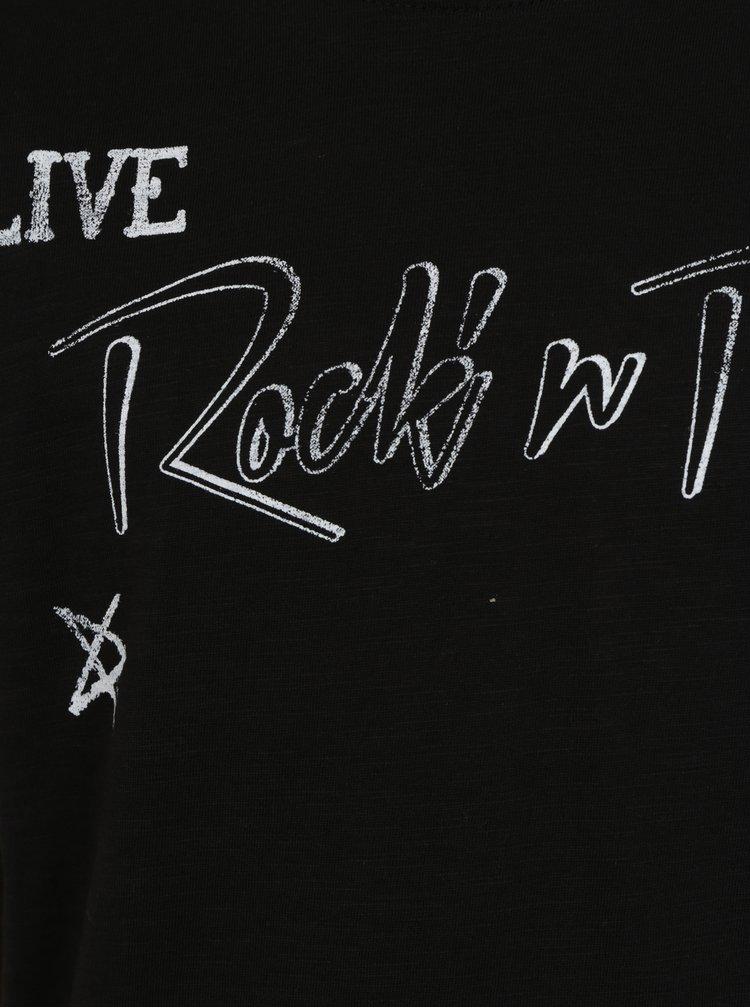 Černé klučičí tričko s kulatým spodním lemem a potiskem Blue Seven