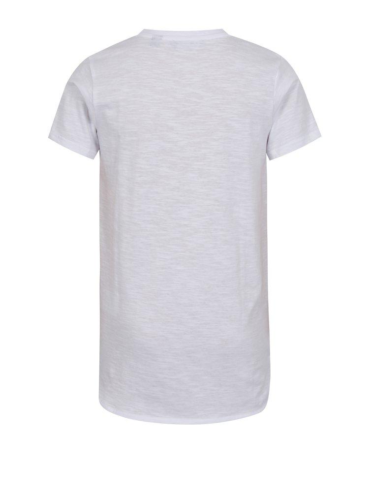 Bílé klučičí tričko s kulatým spodním lemem a potiskem Blue Seven