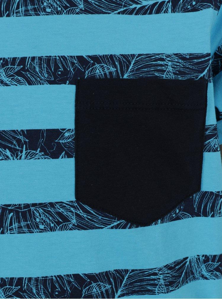 Modré klučičí pruhované tričko s kapsou Blue Seven