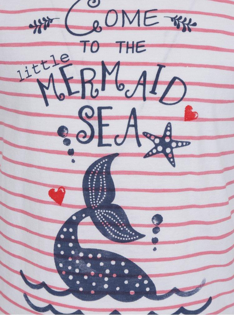 Červeno-bílé holčičí pruhované tričko s potiskem Blue Seven