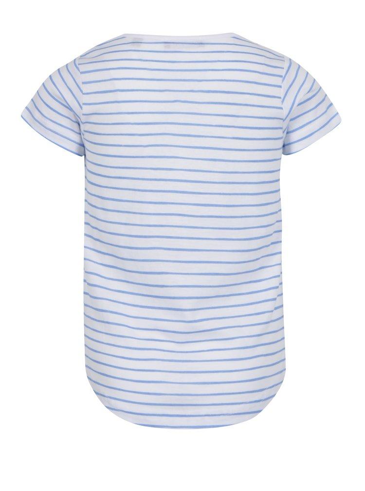 Modro-bílé holčičí pruhované tričko s potiskem Blue Seven