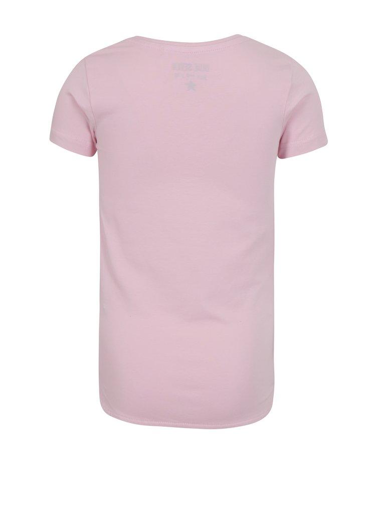 Světle růžové holčičí tričko s potiskem motýlů Blue Seven