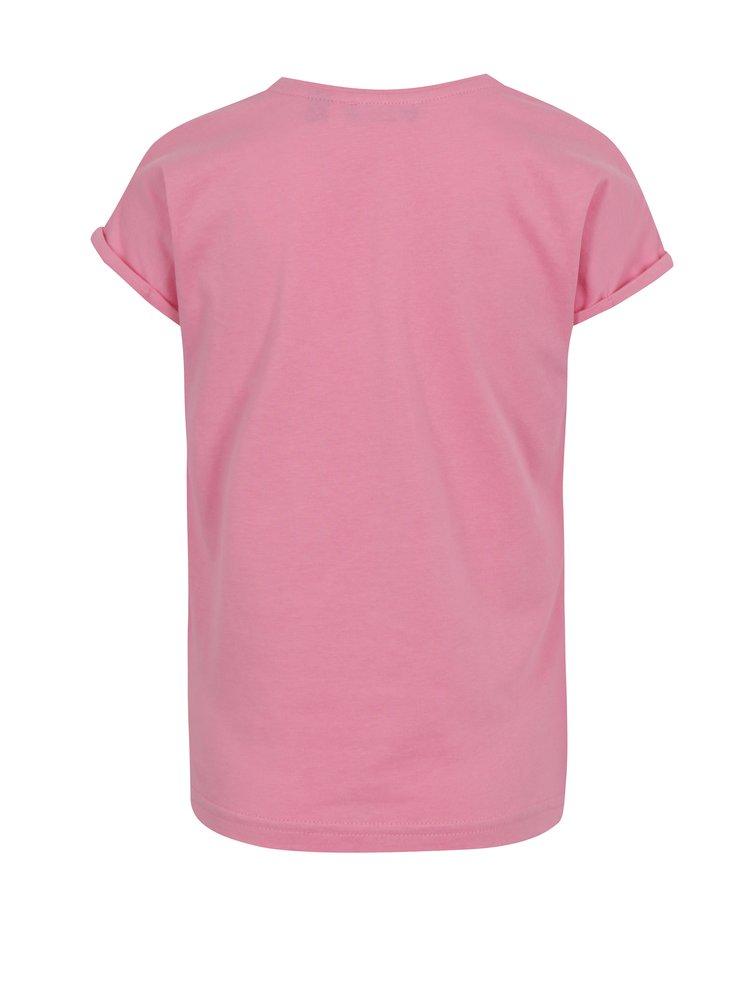 Světle růžové holčičí tričko s potiskem a květinou Blue Seven