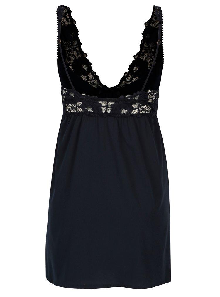 Tmavě modrá noční košilka s krajkovými detaily ICÔNE Adenorah