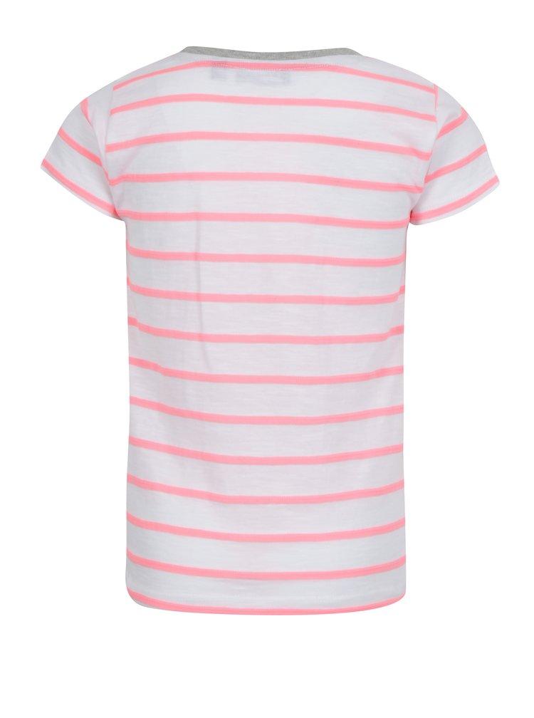 Bílé holčičí pruhované tričko s potiskem a nášivkami Blue Seven