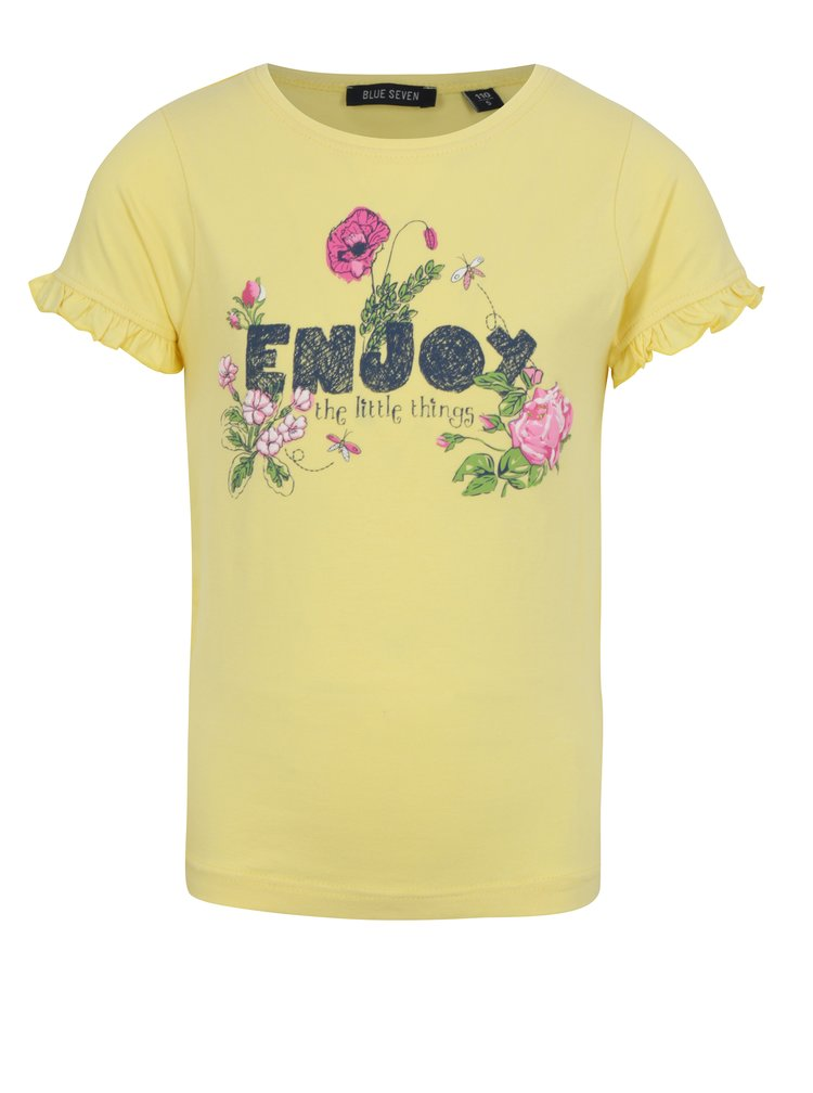 Žluté holčičí tričko s nápisem a volány na rukávech Blue Seven