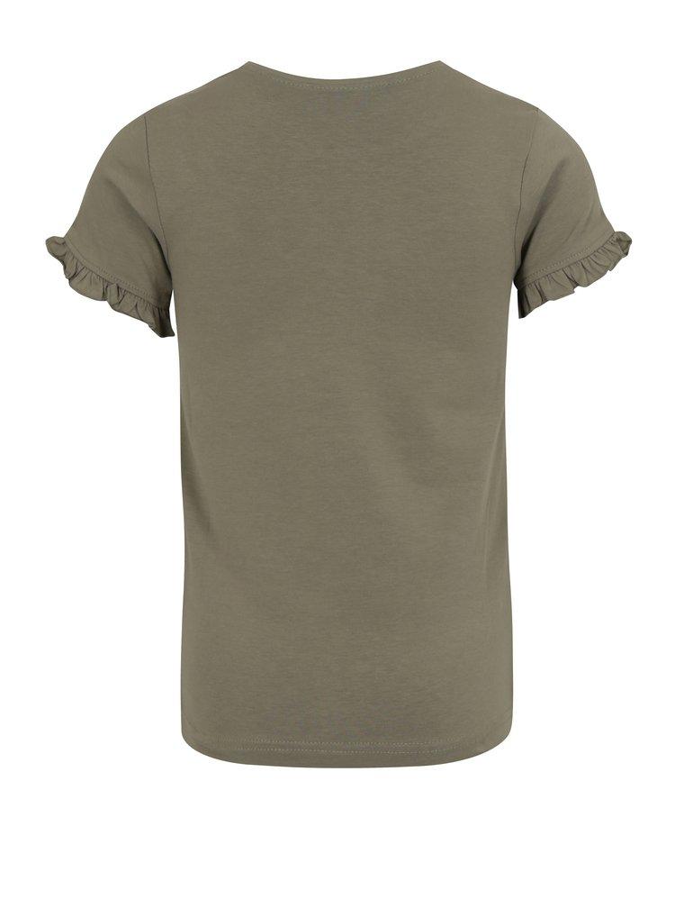 Khaki holčičí tričko s potiskem a volány na rukávech Blue Seven