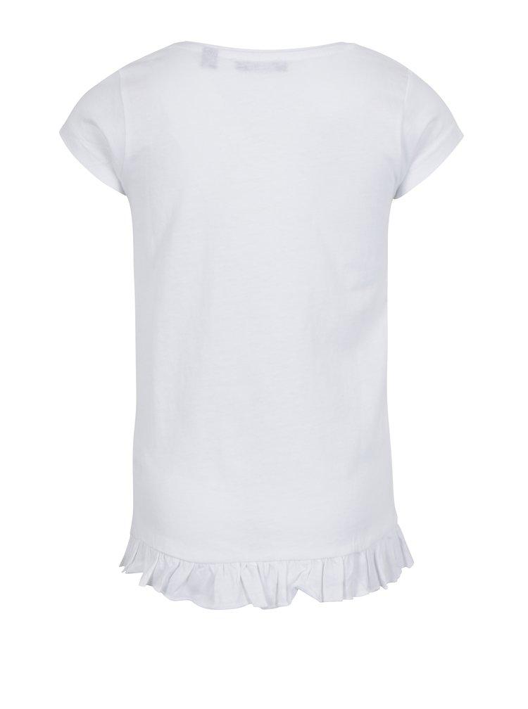 Bílé holčičí tričko s volánem na spodním lemu Blue Seven