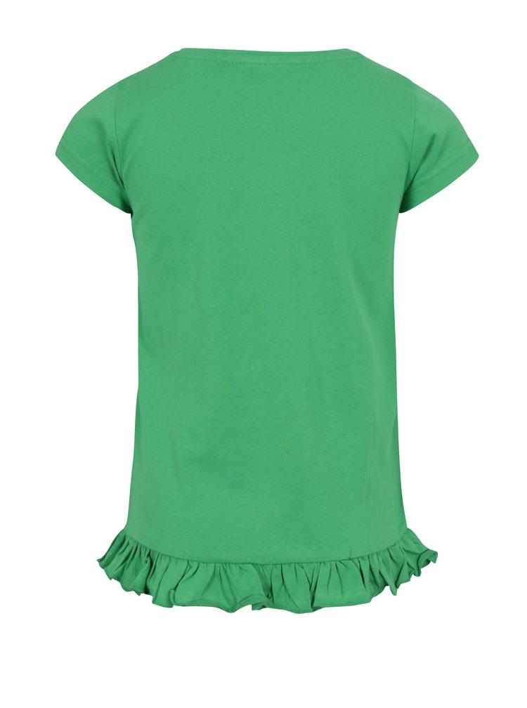 Zelené holčičí tričko s volánem na spodním lemu Blue Seven