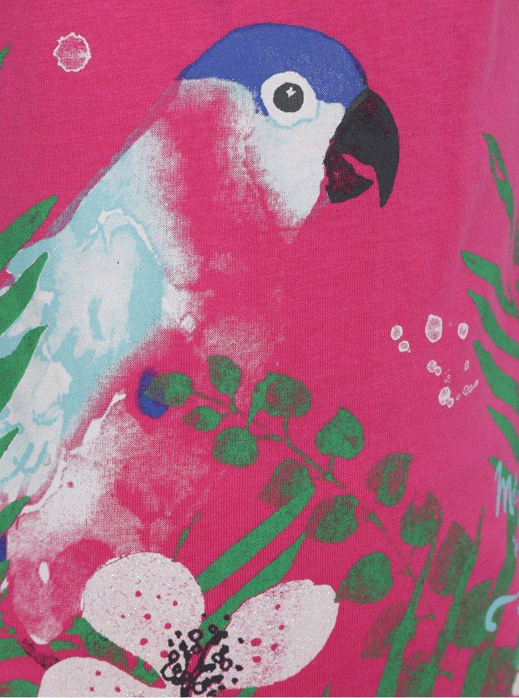 Růžové holčičí tričko s volánem na spodním lemu Blue Seven