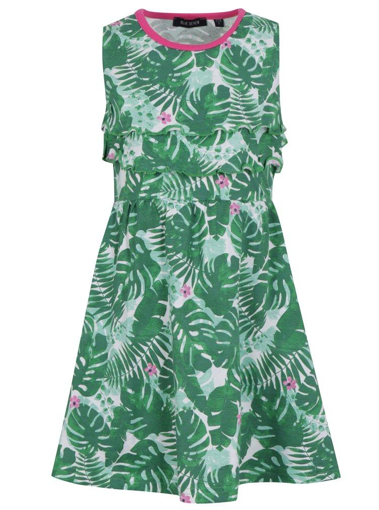 Zelené holčičí vzorované šaty s volány Blue Seven
