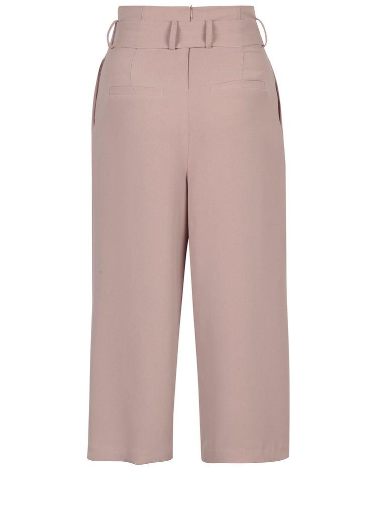 Pantaloni culottes roz prafuit cu funda in talie - ONLY Karolina
