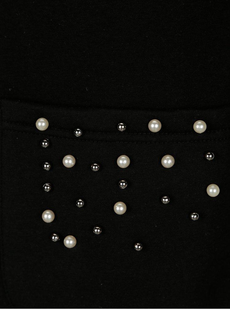 Černý lehký kabát s korálkovou aplikací ONLY Micol