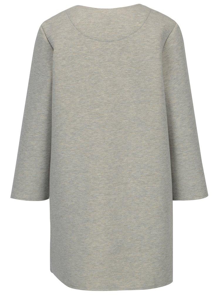 Světle šedý žíhaný kabát s korálkovou aplikací ONLY Micol