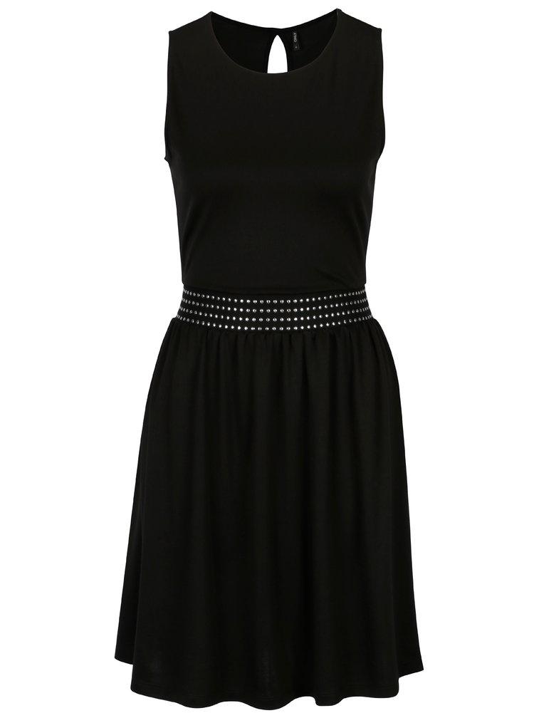 Černé šaty s ozdobnou gumou v pase ONLY Bonnie