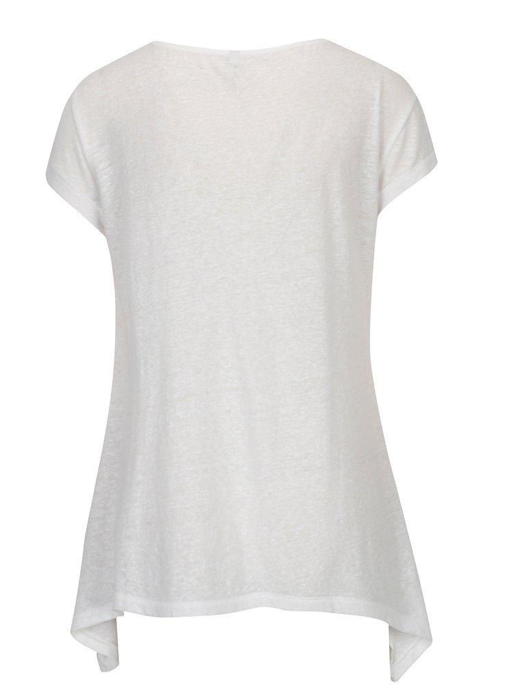 Bílé průsvitné tričko s cípy ONLY Uma