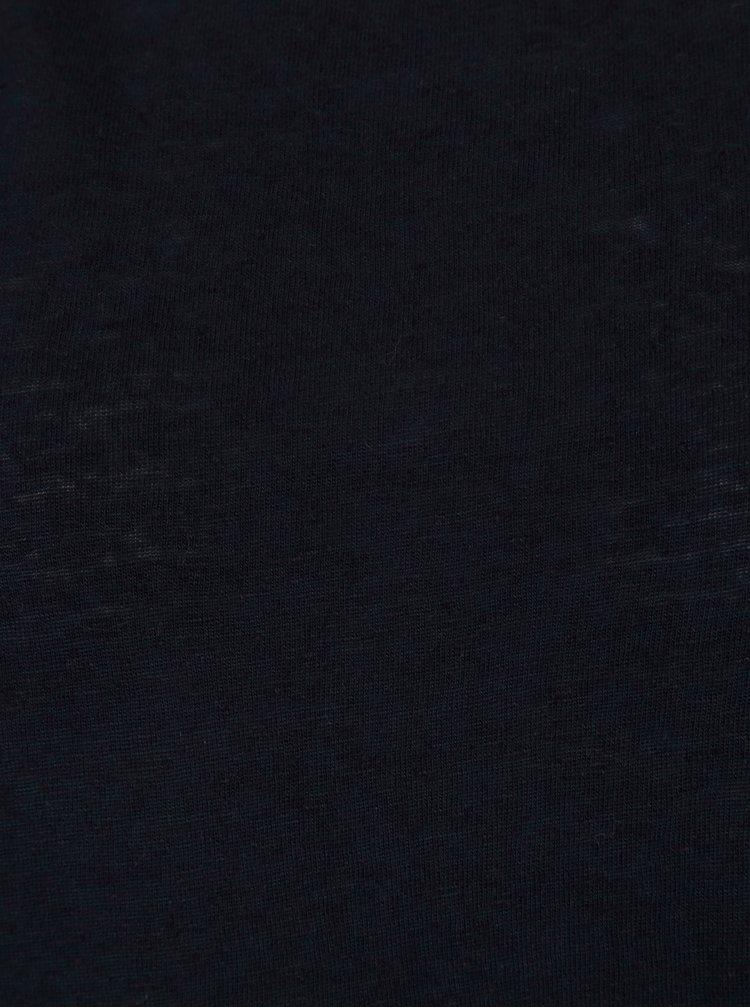 Tmavě modré basic průsvitné tričko s cípy ONLY Uma