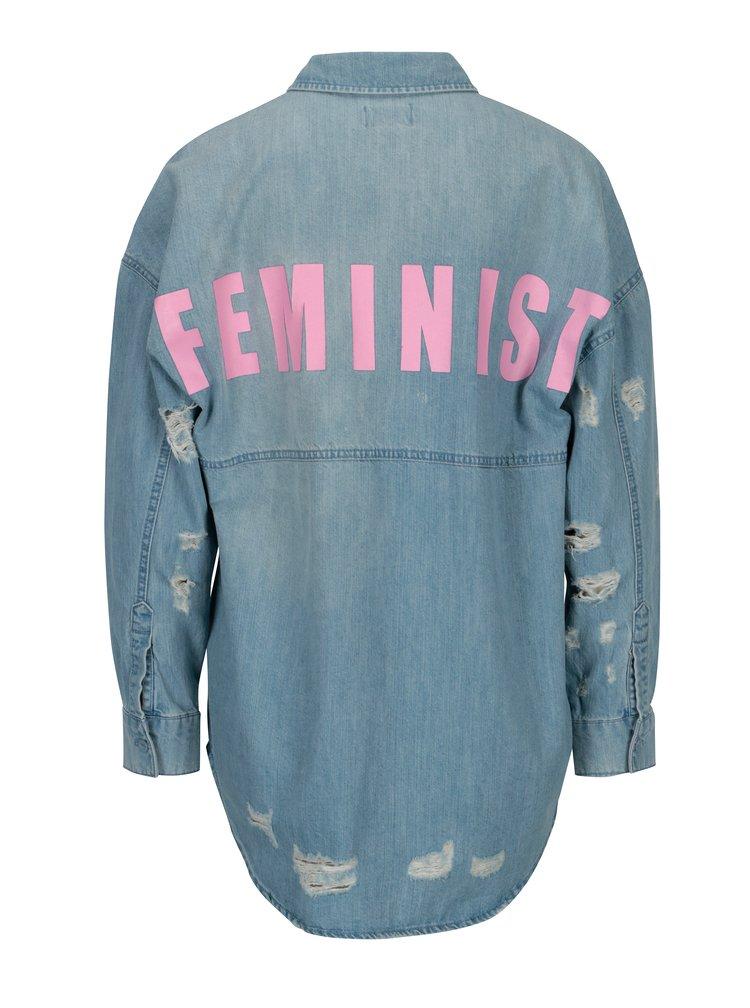 Modrá džínová košile s potrhaným efektem ONLY Flora