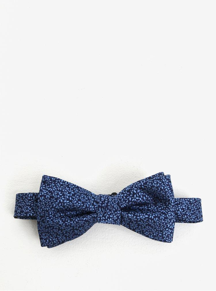 Tmavě modrý hedvábný vzorovaný motýlek Selected Homme Marcel