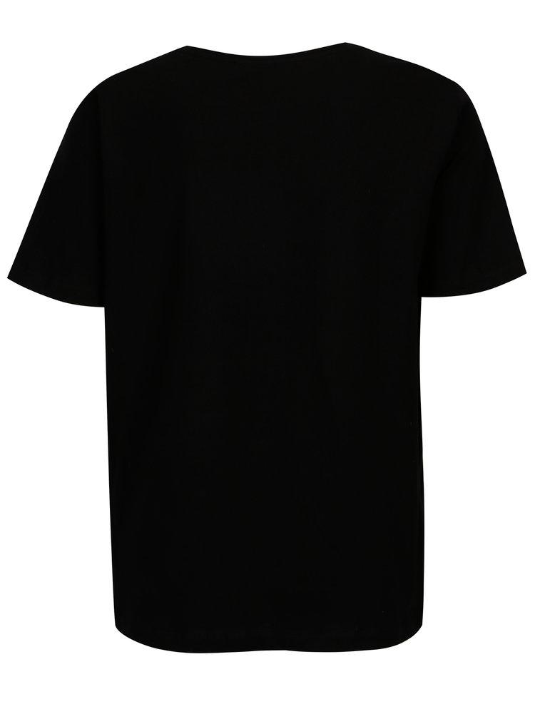 Černé tričko s chlupatým nápisem VILA Farah