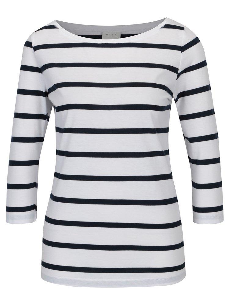 Bílé pruhované basic tričko VILA Striped