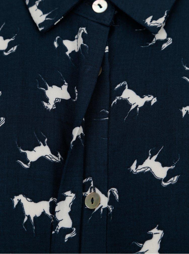Tmavě modrá košile s motivem koní VILA Bilano