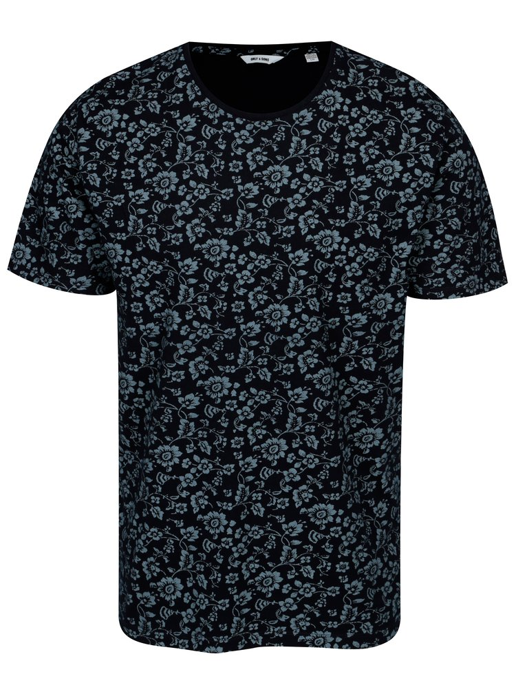Tricou bleumarin cu print floral - ONLY & SONS Milo