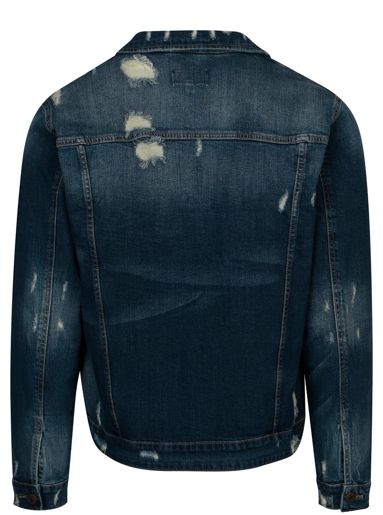 Jacheta albastra din denim cu efect de uzura - ONLY & SONS Denim