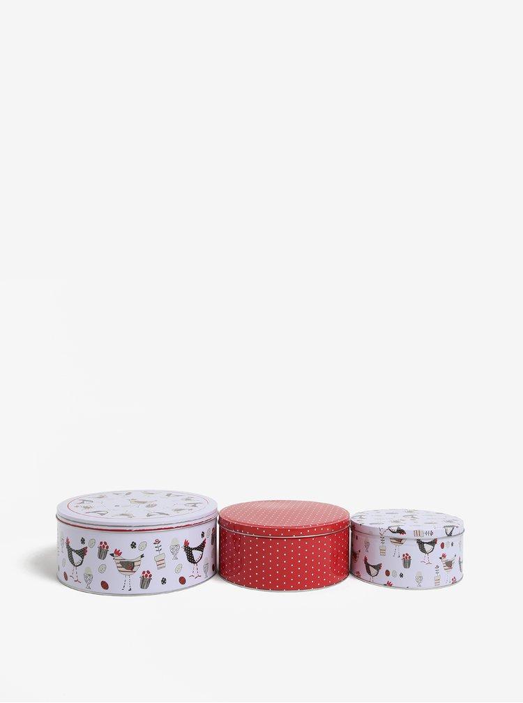 Sada tří vzorovaných dóz v červené a bílé barvě Cooksmart