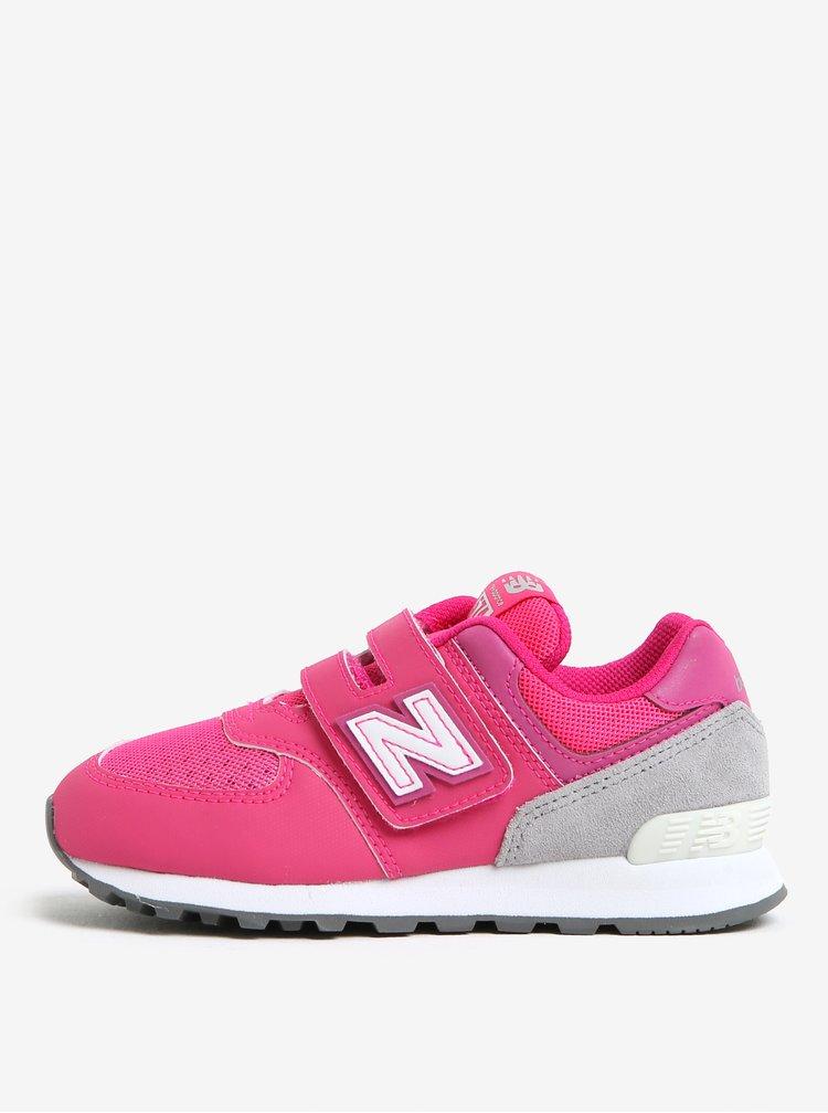 Růžové holčičí tenisky na suchý zip New Balance