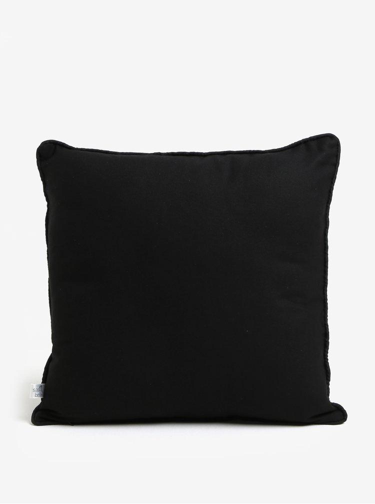Černý polštář s motivem kočky Sass & Belle