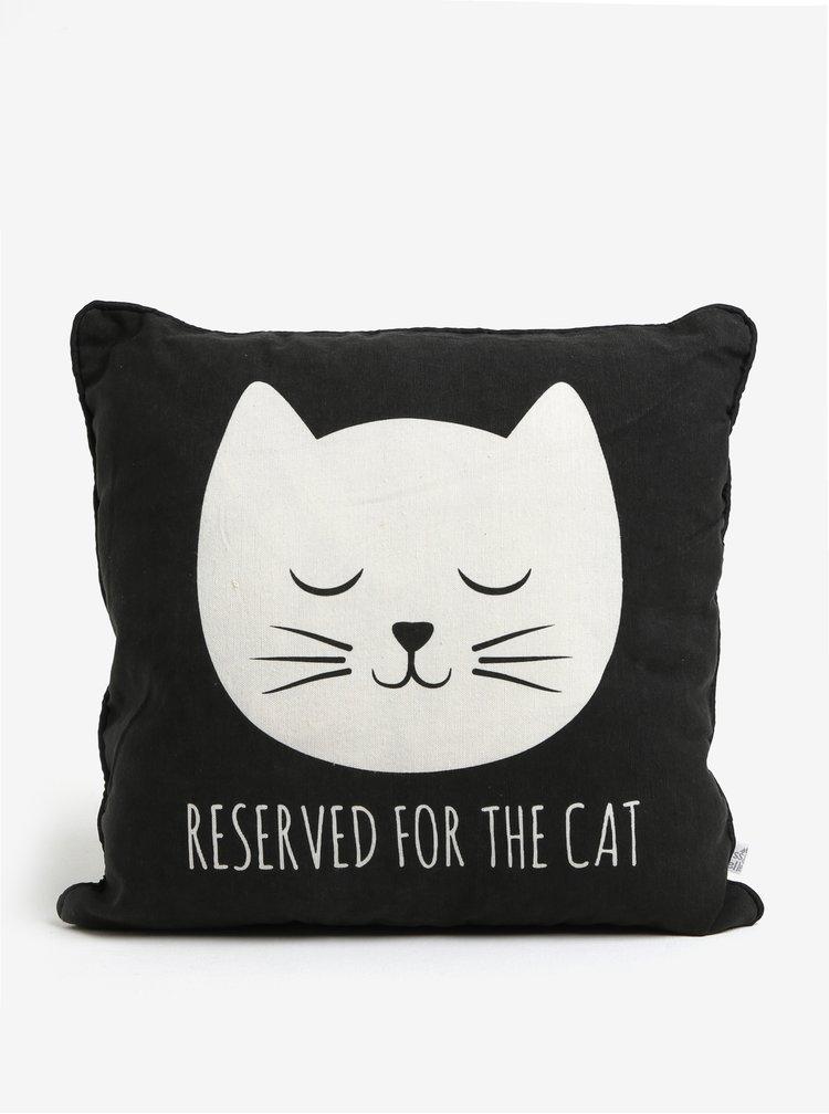 Čierny vankúš s motívom mačky Sass & Belle