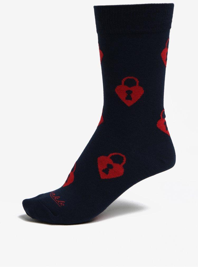 Tmavě modré vzorované ponožky Fusakle Zamilovaný zámočník