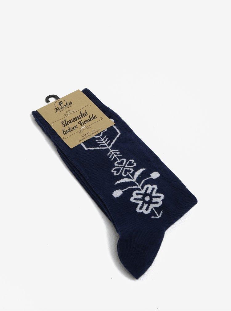 Modro-bílé vzorované unisex ponožky Fusakle Modrotlač