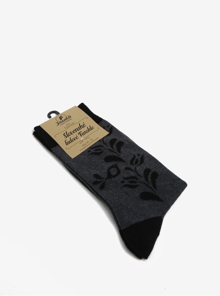 Šedo-černé vzorované unisex ponožky ptáčka Fusakle Vtáčik