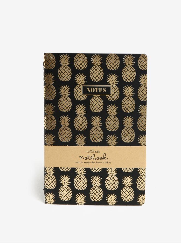 Černý zápisník s motivem ananasů ve zlaté barvě Sass & Belle A5