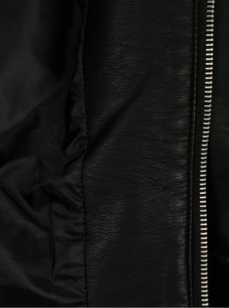 Černá koženková bunda ONLY Heart