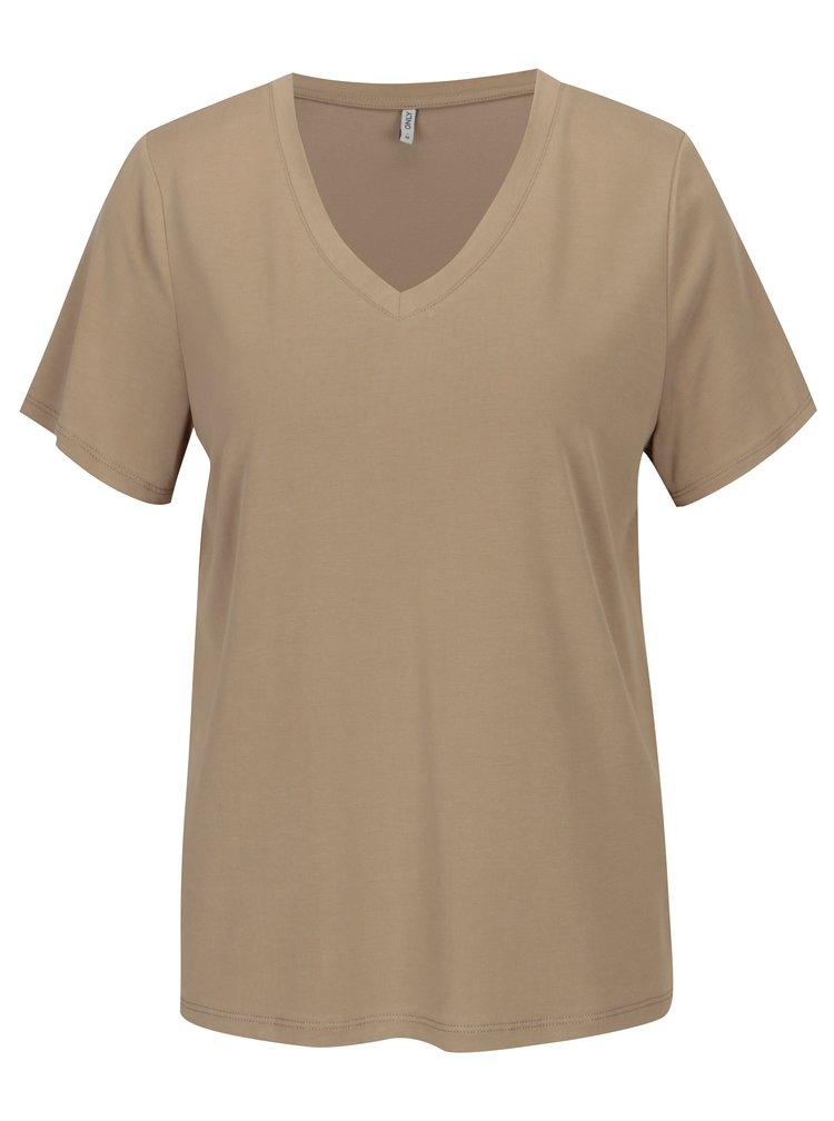 Béžové volné basic tričko ONLY Venus