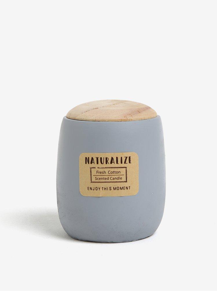 Lumanare parfumata in recipient ceramic gri deschis cu capac din lemn - Kaemingk