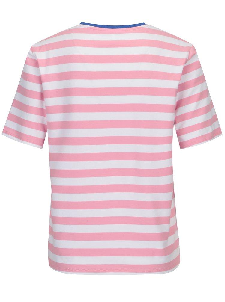 Bílo-růžové pruhované volné basic tričko ONLY Live Love