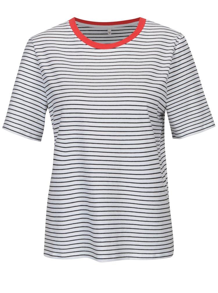 Černo-bílé pruhované volné basic tričko ONLY Live Love