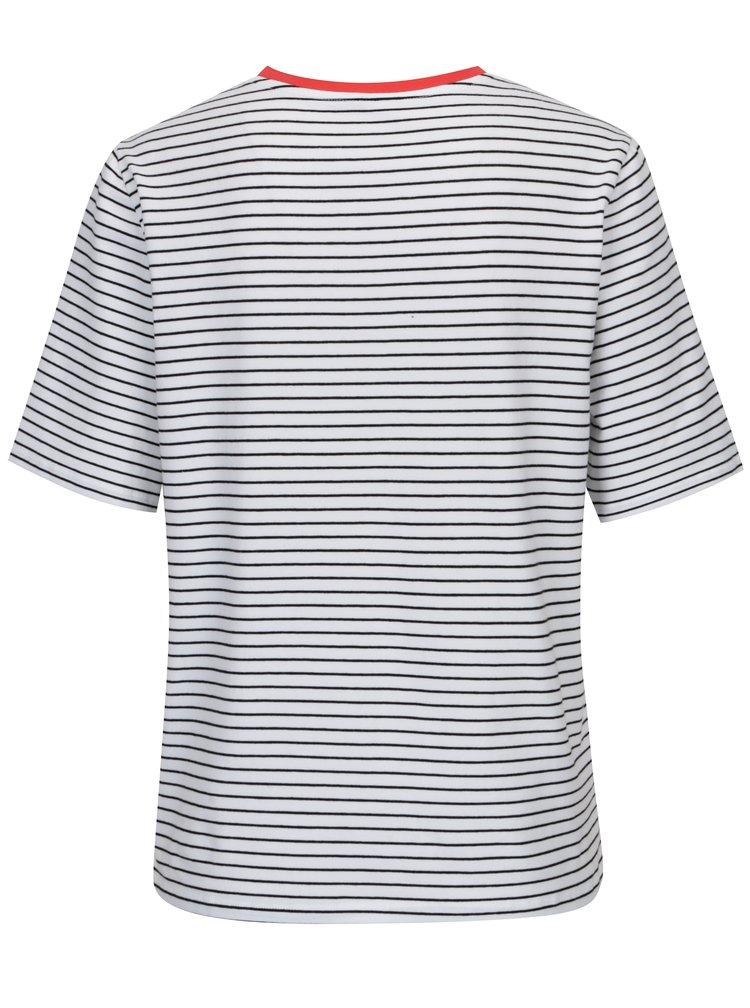 Černo-bílé pruhované volné tričko ONLY Live Love