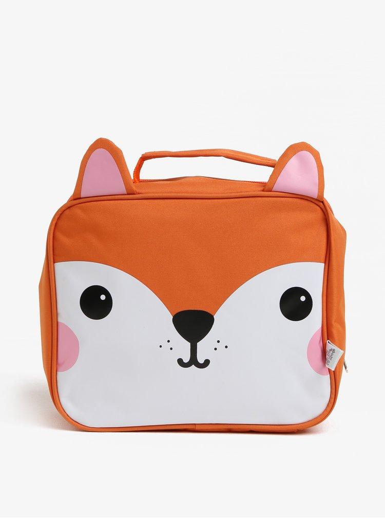 Oranžová taška na jídlo ve tvaru lišky Sass & Belle