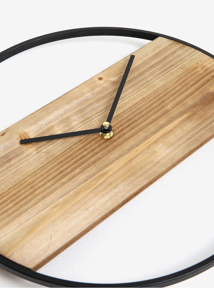 Ceas de perete din lemn cu rama din metal neagra - Kaemingk