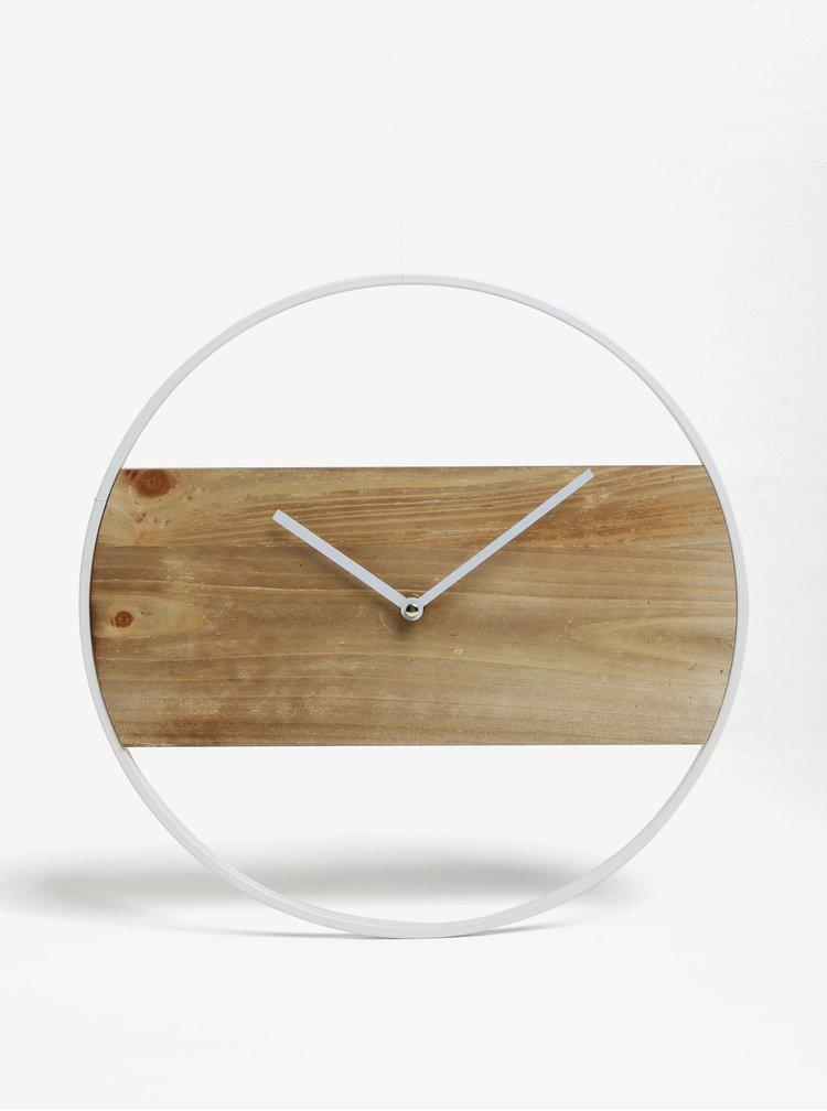 Bílé nástěnné hodiny s dřevěným detailem Kaemingk